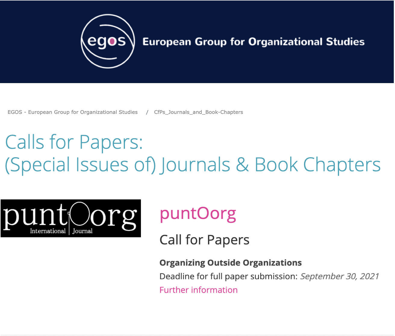 Call for paper EGOS puntOorg